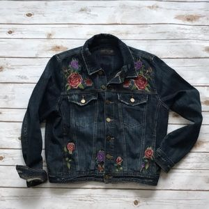 Blank NYC Distressed Jean Jacket Embroidered ROSES